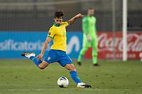 13th October 2020; National Stadium of Peru, Lima, Peru; FIFA World Cup 2022 qualifying; Peru versus Brazil;  Rodrigo Caio of Brazil plays a long pass upfield