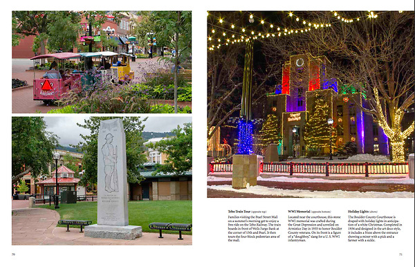 """""""Boulder, Colorado: A Photographic Portrait."""" Photography & writing by John Kieffer.<br /> A hardcover book, with 128 pages and 160 captioned, color photos. John's 6th Book. <br /> Publisher:  TwinLightsPub.com  (May 2018) Pearl Street Mall, pedestrian mall, Boulder, Colorado, Boulder merchant, shopping center,"""