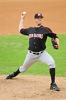 Starting pitcher Matthew Hopps #37 of the Kannapolis Intimidators in action against the Hickory Crawdads at  L.P. Frans Stadium August 1, 2010, in Hickory, North Carolina.  Photo by Brian Westerholt / Four Seam Images