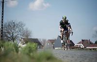 Imanol Erviti (ESP/Movistar) leading over the Kaperij cobbles<br /> <br /> 100th Ronde van Vlaanderen 2016