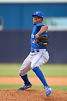 FCL Blue Jays pitcher Jeury Hiciano (16) during a game against the FCL Yankees on June 29, 2021 at the Yankees Minor League Complex in Tampa, Florida.  (Mike Janes/Four Seam Images)