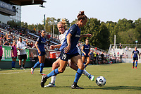 CARY, NC - SEPTEMBER 12: Havana Solaun #19 of the North Carolina Courage fights off a challenge by Lindsey Horan #10 of the Portland Thorns FC during a game between Portland Thorns FC and North Carolina Courage at Sahlen's Stadium at WakeMed Soccer Park on September 12, 2021 in Cary, North Carolina.