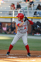 Greeneville Reds outfielder Mike Siani (34) at bat during a game against the Burlington Royals at the Burlington Athletic Complex on July 7, 2018 in Burlington, North Carolina. It was his first game as a professional baseball player. Burlington defeated Greeneville 2-1. (Robert Gurganus/Four Seam Images)