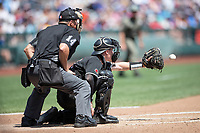 Louisville Cardinals catcher Henry Davis (32) behind the plate during Game 3 of the NCAA College World Series against the Vanderbilt Commodores on June 16, 2019 at TD Ameritrade Park in Omaha, Nebraska. Vanderbilt defeated Louisville 3-1. (Andrew Woolley/Four Seam Images)