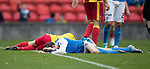 Partick Thistle v St Johnstone…28.10.17…  Firhill…  SPFL<br />Murray Davidson and Niall Keown lie flat out after a clash of heads<br />Picture by Graeme Hart. <br />Copyright Perthshire Picture Agency<br />Tel: 01738 623350  Mobile: 07990 594431