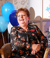 Pictured: Jule Saunders. Wednesday 08 November 2017<br /> Re: Presentation of hospital catering syndicate win £25m in Euromillions Jackpot at Hensol Castle, south Wales, UK. Julie Saunders, 56, Doreen Thompson, 56, Louise Ward, 37, Jean Cairns, 73, SIan Jones, 54 and Julie Amphlett, 50 all work as catering staff for Neath Port Talbot Hospital in south Wales.