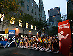 Runners prepare for the start of the 2008 Men's Olympic Trials Marathon on November 3, 2007 in New York, New York.  The race began at 50th Street and Fifth Avenue and finished in Central Park.  Ryan Hall won the race with a time of 2:09:02.  Also pictured is Ryan Shay, (far left, red gloves) who died after collapsing on the course near the fifth mile.