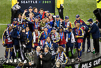 SEATTLE, WA--Real Salt Lake celebrates their victory during the MLS Cup championships at Qwest field in Seattle. SUNDAY, NOVEMBER 22, 2009. PHOTO BY DON FERIA.