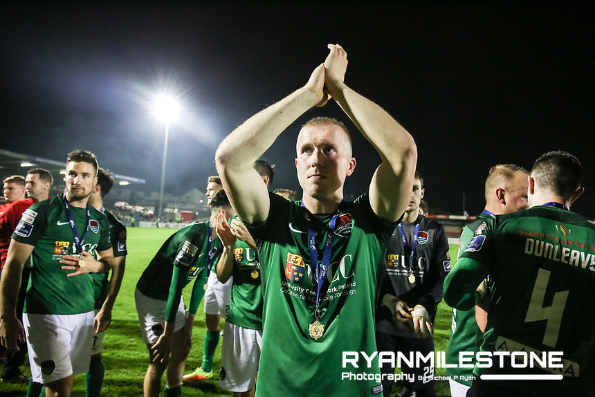 2017 SSE Airtricity League Premier Division,<br /> Cork City vs Bray Wanderers,<br /> Friday 27th October 2017,<br /> Turners Cross, Cork.<br /> Stephen Dooley celebrates at the end of the game.<br /> Photo By: Michael P Ryan