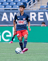 FOXBOROUGH, MA - JULY 4: Dennis Ramirez #37 of the New England Revolution II during a game between Greenville Triumph SC and New England Revolution II at Gillette Stadium on July 4, 2021 in Foxborough, Massachusetts.