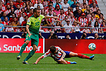 Saul Niguez of Atletico de Madrid and Pedro Leon of SD Eibar in action during La Liga match between Atletico de Madrid and SD Eibar at Wanda Metropolitano Stadium in Madrid, Spain.September 01, 2019. (ALTERPHOTOS/A. Perez Meca)