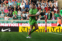 Ed Jenkins of Australia runs in a try during the iRB Marriott London Sevens at Twickenham on Sunday 13th May 2012 (Photo by Rob Munro)
