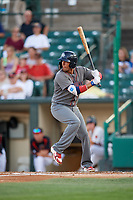Lehigh Valley IronPigs right fielder Ryan Goins (2) at bat during a game against the Rochester Red Wings on September 1, 2018 at Frontier Field in Rochester, New York.  Lehigh Valley defeated Rochester 2-1.  (Mike Janes/Four Seam Images)