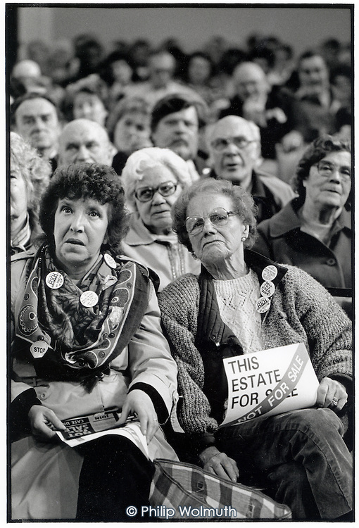 National rally of tenants in Central Hall, Westminster, on the day the Lords debate the Housing Bill, which proposes privatisation of council housing and the introduction of Housing Action Trusts (HATs).