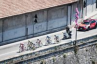breakaway group rolling through the town of Borgomanero <br /> <br /> 104th Giro d'Italia 2021 (2.UWT)<br /> Stage 19 from Abbiategrasso to Alpe di Mera (Valsesia)(176km)<br /> <br /> ©kramon