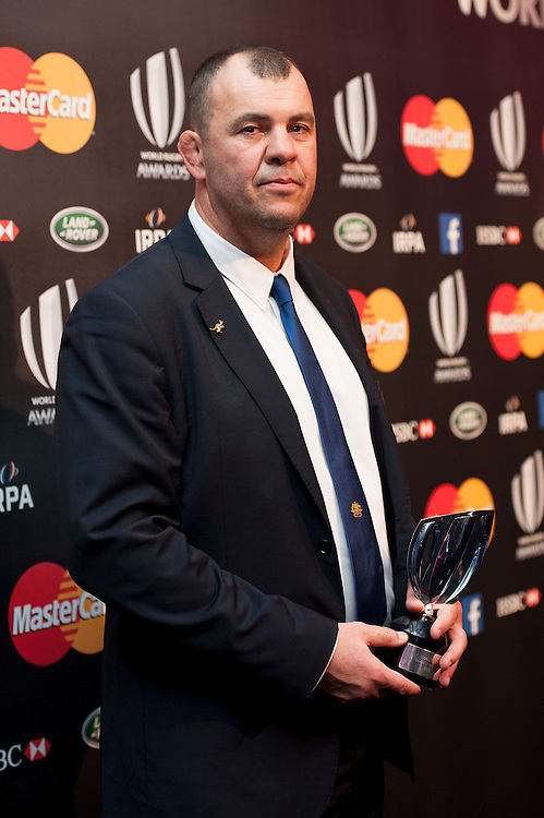 Michael Cheika, Australia Head Coach, winner of Coach of the Year award at the World Rugby Awards 2015  - 01/11/2015 - Battersea Evolution, London<br /> Mandatory Credit: Rob Munro/Stewart Communications