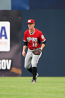 Carolina Mudcats center fielder Stephen Gaylor (12) during a game against the Frederick Keys on June 4, 2016 at Nymeo Field at Harry Grove Stadium in Frederick, Maryland.  Frederick defeated Carolina 5-4 in eleven innings.  (Mike Janes/Four Seam Images)