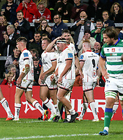 Friday 8th October 2021<br /> <br /> Rob Herring k is congratulated after he scored during the URC Round 3 clash between Ulster Rugby and Benetton Rugby at Kingspan Stadium, Ravenhill Park, Belfast, Northern Ireland. Photo by John Dickson/Dicksondigital