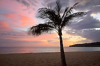 Beach and sunset at Hulopoe Beach. Four Seasons at Manele Bay, Hawaii