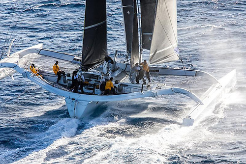 First time in the Rolex Fastnet Race for Jason Carroll's MOD70 trimaran Argo, seen here competing in the 600nm RORC Caribbean 600 Photo: Arthur Daniel/RORC