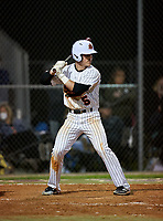 Sarasota Sailors Caden Marsters (5) bats during a game against the Riverview Rams on February 19, 2021 at Rams Baseball Complex in Sarasota, Florida. (Mike Janes/Four Seam Images)