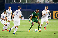 CARSON, CA - OCTOBER 07: Jeremy Ebobisse #17 of the Portland Timbers moves through a quartet of LA Galaxy players during a game between Portland Timbers and Los Angeles Galaxy at Dignity Heath Sports Park on October 07, 2020 in Carson, California.