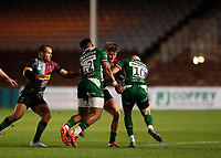 9th September 2020; Twickenham Stoop, London, England; Gallagher Premiership Rugby, London Irish versus Harlequins; Luke Northmore of Harlequins tackled by Jacob Atkins and Phil Cokanasiga of London Irish