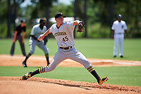 GCL Pirates starting pitcher Cody Bolton (45) delivers a pitch during a game against the GCL Tigers West on July 17, 2017 at TigerTown in Lakeland, Florida.  GCL Tigers West defeated the GCL Pirates 7-4.  (Mike Janes/Four Seam Images)