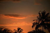 Natal, Brazil. Ponto do Seixas, the most easterly point of Brazil, at sunset with palm trees.