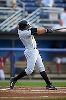 West Virginia Black Bears catcher Christian Kelley (16) at bat during a game against the Batavia Muckdogs on August 31, 2015 at Dwyer Stadium in Batavia, New York.  Batavia defeated West Virginia 5-4.  (Mike Janes/Four Seam Images)