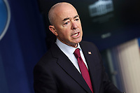 United States Secretary of Homeland Security Alejandro Mayorkas talks to reporters during the daily press briefing in the Brady Press Briefing Room of the White House on Monday, March 1, 2021 in Washington, DC. <br /> Credit: Oliver Contreras / Pool via CNP /MediaPunch