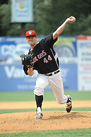 New Britain Rock Cats pitcher Jason Wheeler (44) during game against the Reading Fightin Phils  at New Britain Stadium on July 13, 2014 in New Britain, CT. Reading defeated New Britain 6-4.  (Tomasso DeRosa/Four Seam Images)