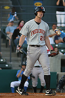 Joe Mahoney #25 of the Frederick Keys at bat during a game against the Myrtle Beach Pelicans on May 1, 2010 in Myrtle Beach, SC.