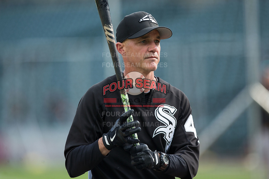 Chicago White Sox bench coach Joe McEwing (47) during batting practice prior to the game against the Detroit Tigers at Comerica Park on June 2, 2017 in Detroit, Michigan.  The Tigers defeated the White Sox 15-5.  (Brian Westerholt/Four Seam Images)