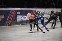 SPEEDSKATING: DORDRECHT: 06-03-2021, ISU World Short Track Speedskating Championships, SF 3000m Relay, Yara van Kerkhof (NED), Arianna Valcepina (ITA), ©photo Martin de Jong