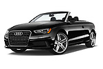 Stock pictures of low aggressive front three quarter view of 2015 Audi A3 1.8 Premium Plus  2 Door Convertible