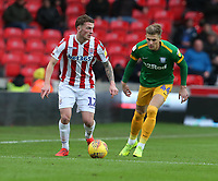 Stoke City's Ryan Shawcross and Preston North End's Brad Potts<br /> <br /> Photographer Stephen White/CameraSport<br /> <br /> The EFL Sky Bet Championship - Stoke City v Preston North End - Saturday 26th January 2019 - bet365 Stadium - Stoke-on-Trent<br /> <br /> World Copyright © 2019 CameraSport. All rights reserved. 43 Linden Ave. Countesthorpe. Leicester. England. LE8 5PG - Tel: +44 (0) 116 277 4147 - admin@camerasport.com - www.camerasport.com