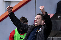 13th March 2021; Vitality Stadium, Bournemouth, Dorset, England; English Football League Championship Football, Bournemouth Athletic versus Barnsley; Valerien Ismael Manager of Barnsley celebrates the final whistle and winning 2-3