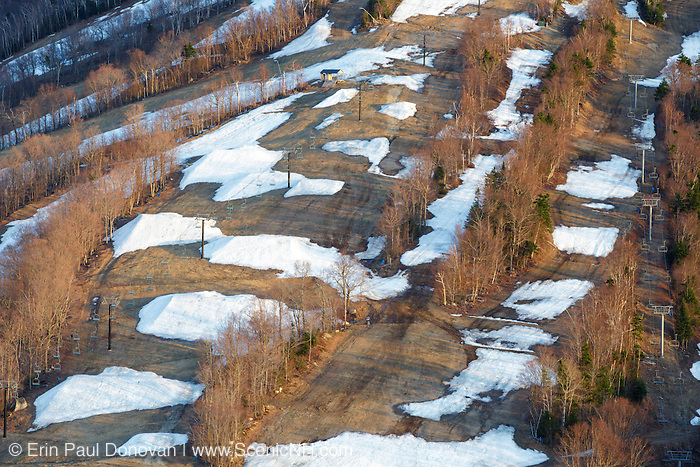 Ski trails on Cannon Mountain in <br /> Franconia Notch State Park of the New Hampshire White Mountains during the spring months after mountain closed for the season.