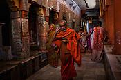 Hindu Pilgrims visit the Gauri Kedareshwar temple on Kedar Ghat in the ancient city of Varanasi in Uttar Pradesh, India. Photograph: Sanjit Das/Panos