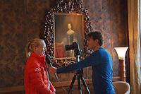 The Netherlands, Den Bosch, 16.04.2014. Fed Cup Netherlands-Japan, draw, Kiki Bertens (NED) being interviews by Jan-Willem de Lange<br /> Photo:Tennisimages/Henk Koster