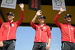 UAE Team Emirates with European Champion Alexander Kristoff (NOR) centre on stage at the team presentation before the 116th edition of Paris-Roubaix 2018. 7th April 2018.<br /> Picture: ASO/Pauline Ballet | Cyclefile<br /> <br /> <br /> All photos usage must carry mandatory copyright credit (© Cyclefile | ASO/Pauline Ballet)