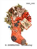 GIORDANO, CHRISTMAS ANIMALS, WEIHNACHTEN TIERE, NAVIDAD ANIMALES, paintings+++++,USGI1961,#XA# christmas stocking dogs,puppies