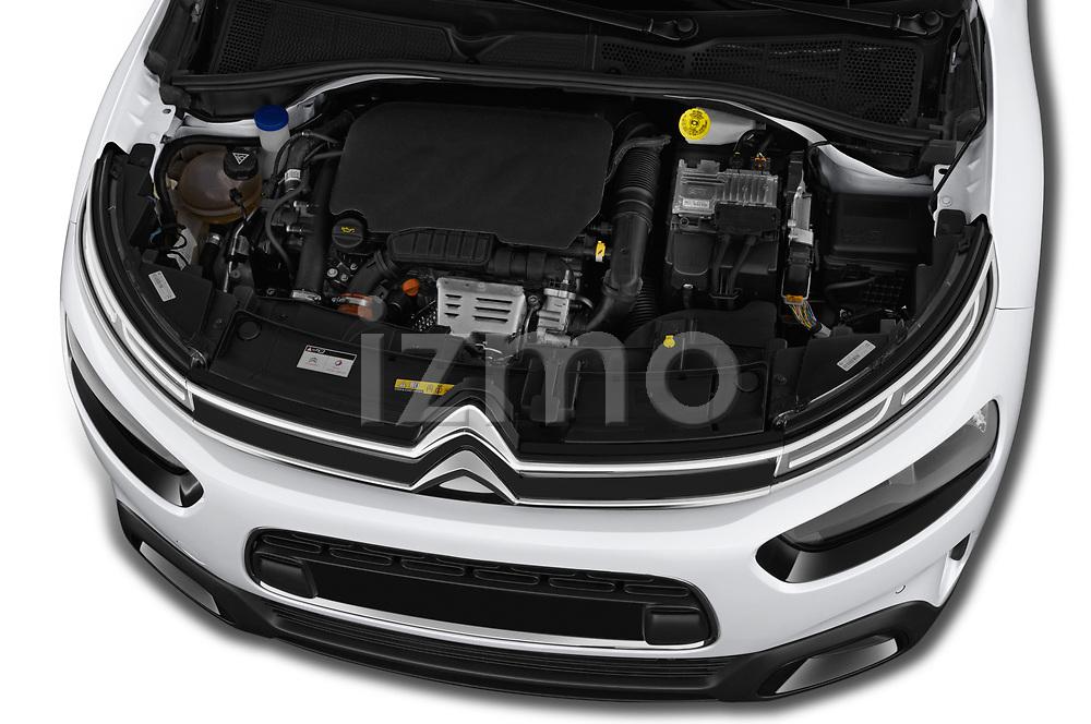 Car stock 2018 Citroen C4 Cactus Shine 5 Door SUV engine high angle detail view