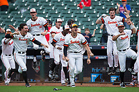 The Sam Houston State Bearkats bench celebrates following the walk-off 2-run home run by Hunter Hearn (not pictured) in the bottom of the 10th inning against the Vanderbilt Commodores in game one of the 2018 Shriners Hospitals for Children College Classic at Minute Maid Park on March 2, 2018 in Houston, Texas.  The Bearkats walked-off the Commodores 7-6 in 10 innings.   (Brian Westerholt/Four Seam Images)