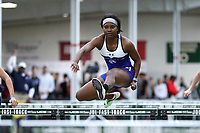 WINSTON-SALEM, NC - FEBRUARY 07: Micah Bernard #4 of Fayetteville State University competes in the Women's 60m Hurdles at JDL Fast Track on February 07, 2020 in Winston-Salem, North Carolina.