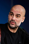 Pep Guardiola attends to Manchester City Press Conference at Santiago Bernabeu Stadium in Madrid, Spain. February 25, 2020. (ALTERPHOTOS/A. Perez Meca)