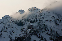 The afternoon light in winter over the rugged peak of Togakushi Mountain in northern Nagano Prefecture, Japan.