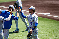 Duke Blue Devils pitcher Jimmy Loper (6) receives congratulations during the game against the Wright State Raiders in NCAA Regional play on Robert M. Lindsay Field at Lindsey Nelson Stadium on June 5, 2021, in Knoxville, Tennessee. (Danny Parker/Four Seam Images)