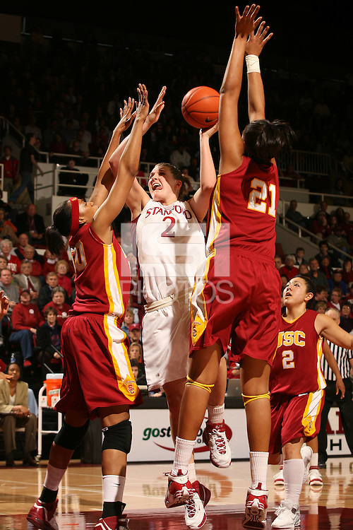 25 February 2007: Jayne Appel during Stanford's 56-53 win over USC at Maples Pavilion in Stanford, CA.